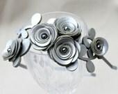 Silver flower headband leather roses winter wedding tiara gray rosettes prom
