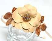 Yellow flower headband fascinator, leather brown leaves woodland wedding 3 year anniversary gift