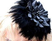 Black flower hair clip/fascinator leather/feather dahlia Gothic wedding hair accessory Victorian steampunk mini hat 3 year anniversary gift