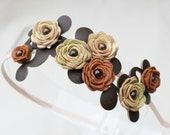 Flower headband, yellow green rust brown leather roses grenn leaves floral bridal hairpiece woodland wedding prom wearable art