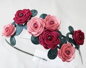Flower headband leather roses headband  pink red green hairband woodland wedding hairpiece floral headband