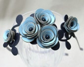 Blue flower headband leather roses navy leaves nautical wedding floral hairband
