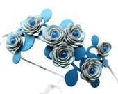 Flower headband leather rose blue headband floral headband nautical wedding crown bridal hair accessory