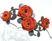 Orange flower headband leather ranunculus green leaves bridal hairband woodland wedding hair accessory 3 year anniversary gift