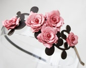 Pink flower headband leather gardenias green leaves bridal hairband woodland wedding floral hairpiece 3 year anniversary gift prom