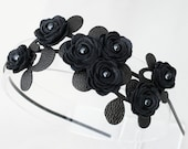 Black flower headband leather roses and leaves on metal hairband, floral wedding tiara gothic woodland wedding 3 year anniversary gift