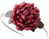 Fllower headband fascinator, red leather  rose moss green leaves woodland wedding hairpiece prom wearable art