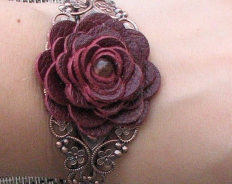 Flower bracelet leather bracelet floral cuff bracelet leather jewelry wedding jewelry mixed media jewelry burgundy metal lace bracelet prom