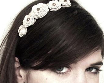Flower headband bridal hair band woodland wedding crown flower girl accessory white red cream purple black blue green brown black teal pink