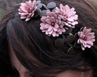Flower headband mauve pink leather daisies green leaves bridal hairpiece woodland wedding hair accessory prom wearable art
