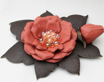 Pink leather flower hair clip green leaves glass beads floral brooch woodland wedding corsage decoration woodland wedding prom wearable art