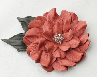 Pink leather flower pin brooch peach dahlia moss green leaves and beaded center prom wearable art
