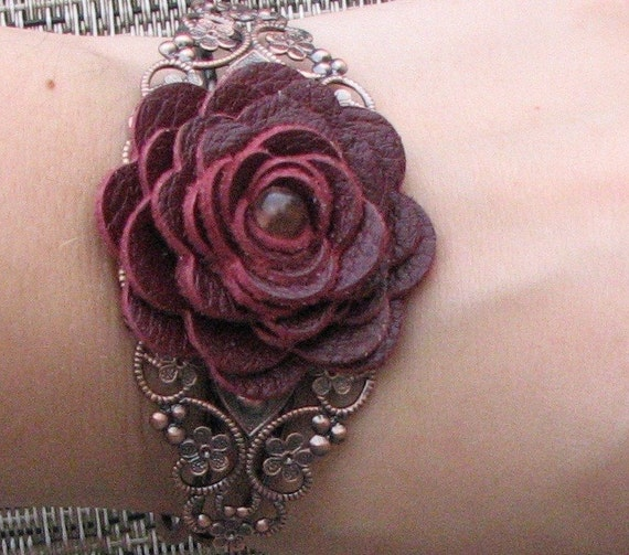 Flower bracelet leather bracelet floral cuff bracelet leather jewelry wedding jewelry mixed media jewelry burgundy metal lace bracelet prom