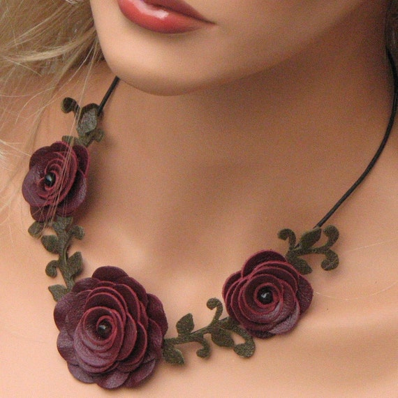 Flower necklace leather necklace choker burgundy roses leather jewelry mixed media jewelry wedding accessories prom wearable art