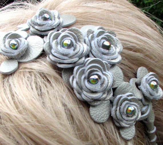 Leather flower headband, platinum roses and leaves on metal hairband, floral wedding tiara woodland wedding