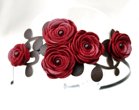 Wedding headband red leather flower headband bridal hairpiece woodland wedding prom wearable art