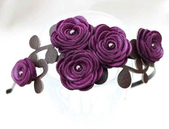 Flower headband purple bridal hairpiece woodland wedding headband floral tiara hair accessory