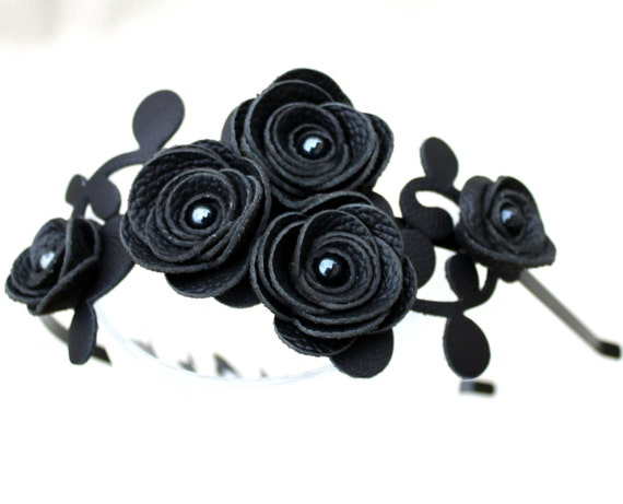 Black flower headband leather roses leaves Gothic wedding hairband hair accessory 3 year anniversary gift