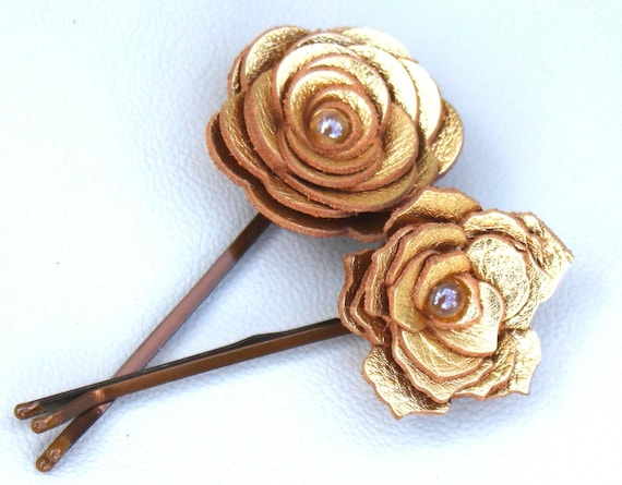 2 leather rose or poinsettia bobby pins, metallic gold 3 year anniversary gift prom wearable art