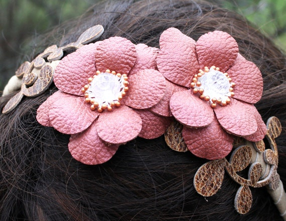 Floral leather headband fascinator, coral pink flowers, brown leaves, bead center on suede hairband