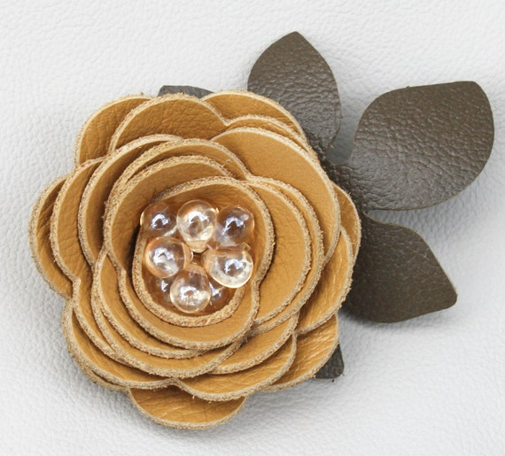 Yellow flower hair clip fascinator, leather rose, green leaves, beaded center. Woodland wedding 3 year anniversary gift