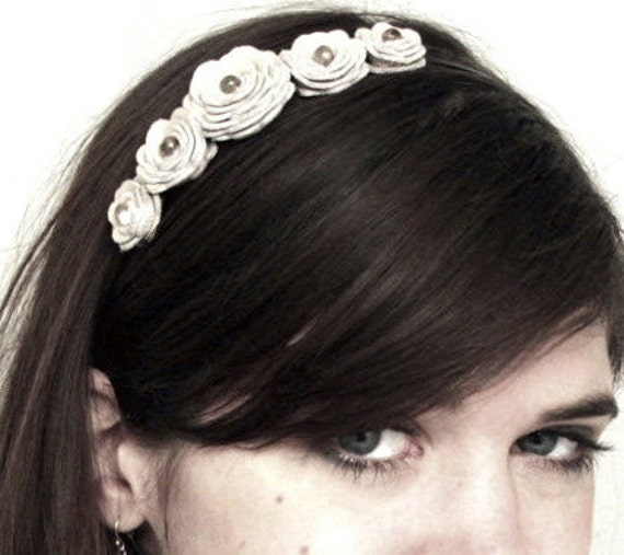 Flower headband bridal hair band woodland wedding crown flower girl accessory white red cream purple black blue green brown black teal pink