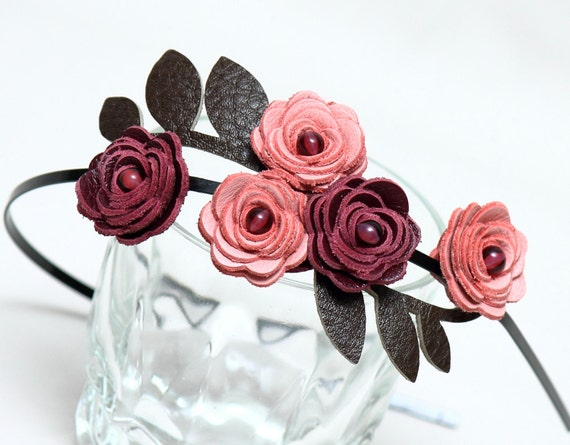 Pink burgundy flower headband leather roses moss green leaves bridal  hairpiece woodland wedding tiara prom wearable art