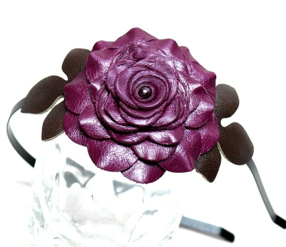 Purple flower headband fascinator, leather rose  green leaves on black metal hairband 3 year anniversary gift