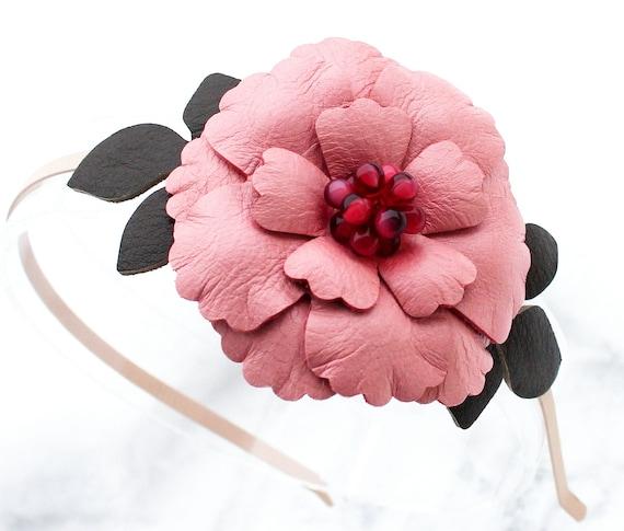 Pink flower fascinator headband, leather green leaves woodland wedding 3 year anniversary gift prom wearable art