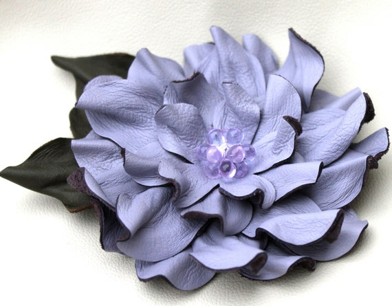 Periwinkle leather flower pin brooch dahlia with moss green leaves and beaded center 3 year anniversary gift prom wearable art