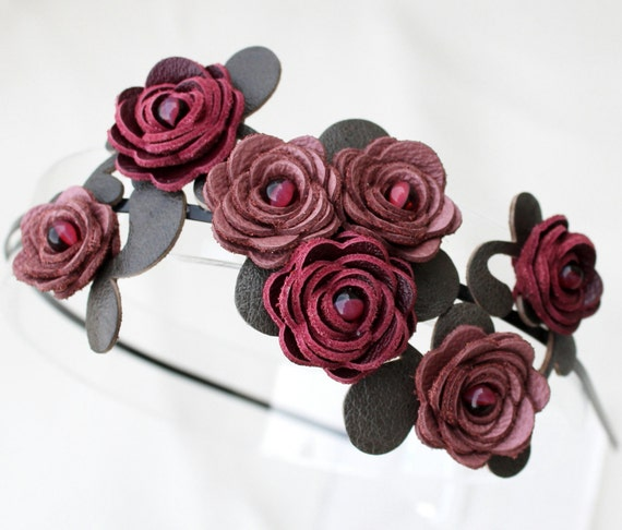Mauve  burgundy flower headband leather roses moss green leaves on black metal hairband, floral wedding tiara woodland wedding prom