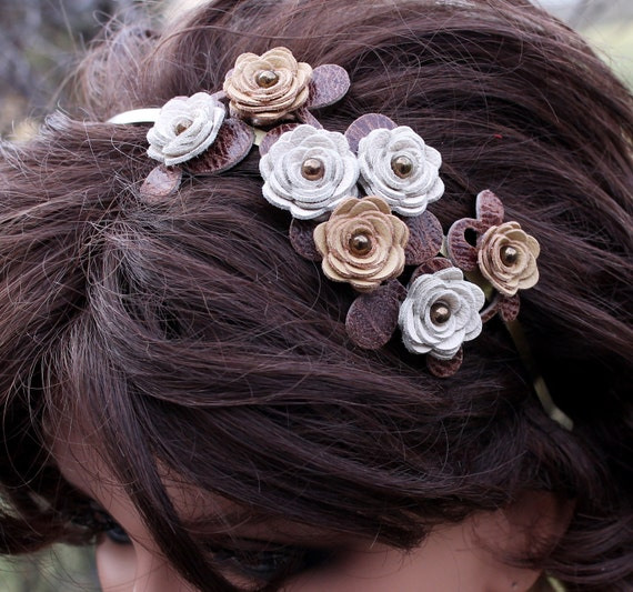 Flower headband  cream and yellow leather roses brown leaves on  metal hairband, bridal tiara woodland wedding hairpiece