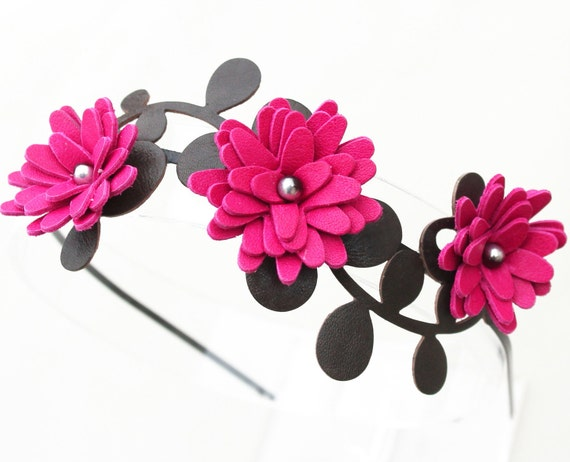 Hot pink flower headband leather fuchsia daisies green leaves floral wedding tiara woodland wedding hair accessory 3 year anniversary gift
