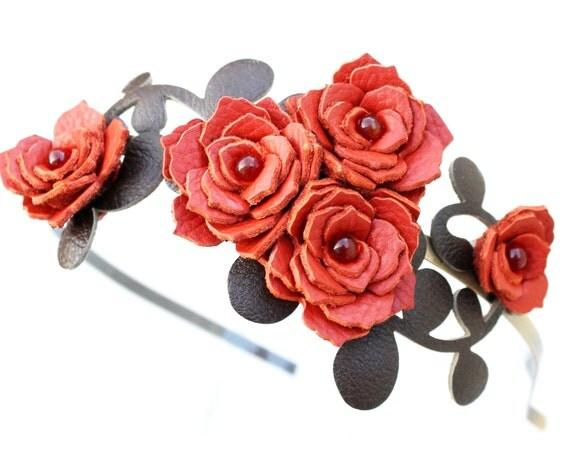 Flower headband leather burned orange gardenias green leaves bridal hairband woodland wedding hair accessory tangerine tango prom