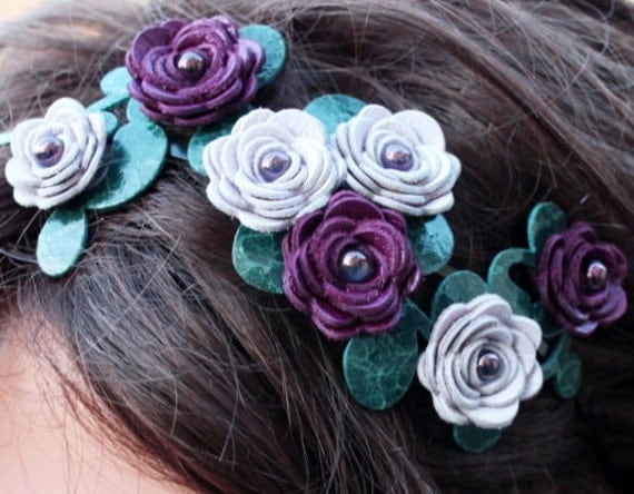 Flower headband floral headband leather headband leather rose purple headband wedding headband