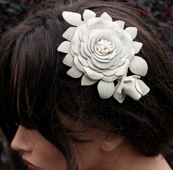 Wedding hair flower clip barrette ivory leaves freshwater pearl center  woodland wedding decoration