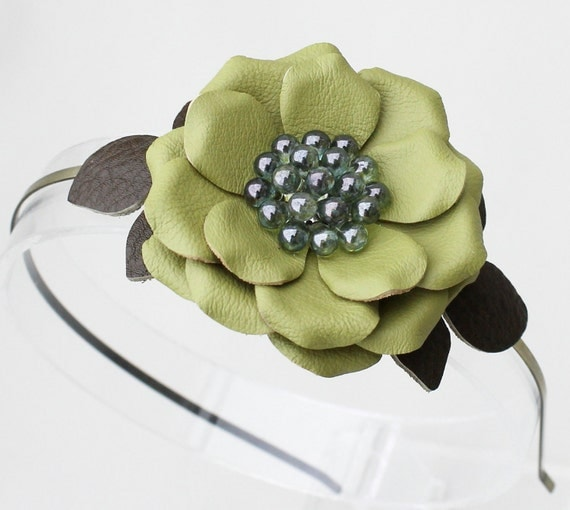 Green flower headband fascinator leather roses and leaves woodland wedding bridal hairpiece 3 year anniversary gift prom wearable art