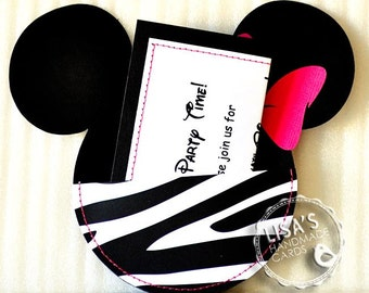 Custom Zebra Print and Hot Pink Minnie Mouse Birthday Invitations Handmade by Lisa