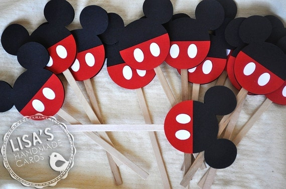 Mickey Mouse Cupcake Toppers, Handmade by Lisa
