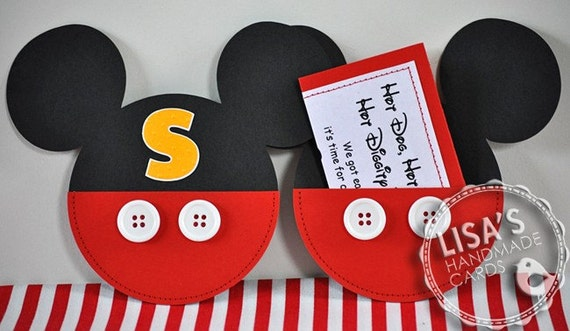 RESERVED for Amanda- Custom Mickey Mouse Birthday Invitations Handmade by Lisa