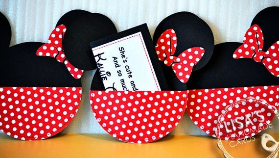 RESERVED for Glenda- Custom Red and White Polka Dot Minnie Mouse Birthday Invitations Handmade by Lisa