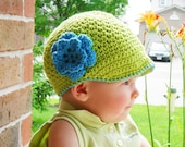 Cotton Newsboy Hat for Girls - Hot Green with Blue Flower and Trim - available in Four Sizes