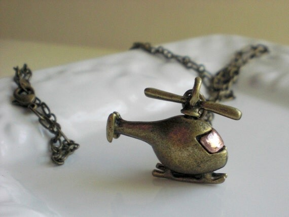 First Flight - Long Helicopter Charm Necklace