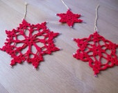 7 Crochet red Snowflake Ornaments -Christmas tree.by Arzu
