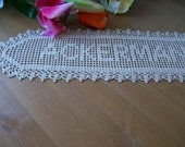 New Crocheted Name Doilly.personalized doily, personalized gift, gift for women, personalized crochet, gift for family,