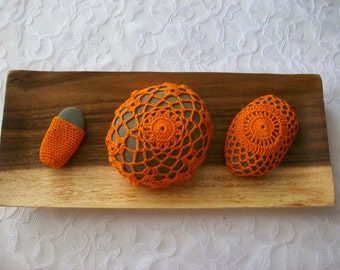 Orange handmade crochet stones,gift,home decor.