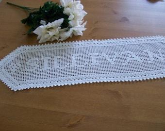 Custom handmade Crocheted Name Doily   personalized gift  crochet  gift for family