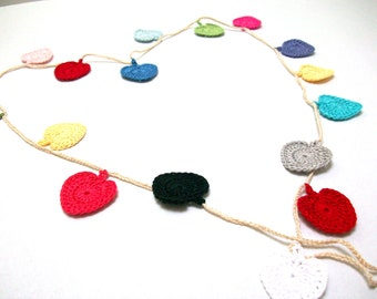 Crochet Hearts Garland - 17 hearts.by Arzu