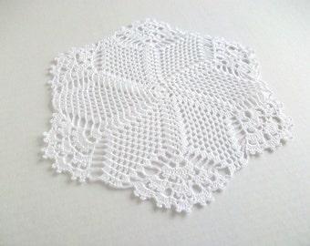 White crochet doily....
