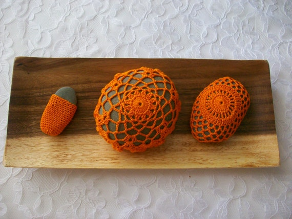 Handmade crochet stones gift home decor housewares unique